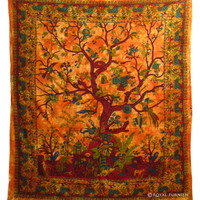 Queen Red Multi Purpose Tree Of Life Hippie Wall Hanging Coverlet