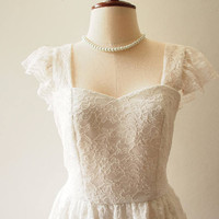 OLIVIA - White Lace Dress Ruffle Sleeve Sweetheart Dress - Back Zipper - Vintage Marie Antoinette Style Dress Victorian Wedding Dress