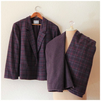 Purple Pendleton Vintage Baird Tartan Plaid 100% Wool Jacket Skirt 3 Piece Set 2XL XXLarge