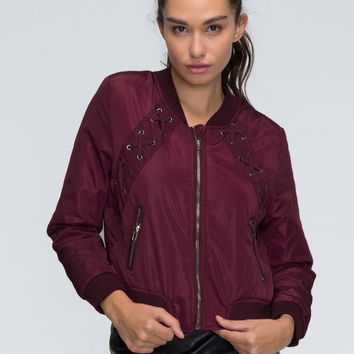Burgundy Lace Up Detail Bomber Jacket