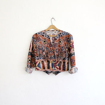 Vintage 80s Navajo Print Cropped Cotton Blouse with Fringe // Women's Western Top