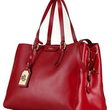 Lauren Ralph Lauren Tate Leather Center Zip Satchel