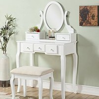 Dressing Table Makeup Desk W/Stool 3 Drawers & Oval Mirror Bedroom White