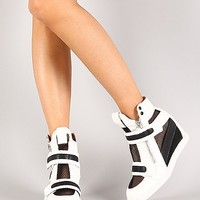 Liliana Sue-40 Patent Mesh Wedge Sneakers