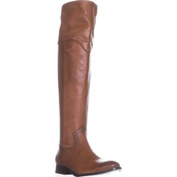 FRYE Melissa Western Over The Knee Boots, Cognac, 9.5 US