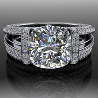 Forever Brilliant Moissanite and Diamond Engagement Ring and Band 3.35 CTW