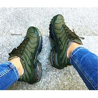 NIKE Air Max Plus Tn Men's and Women's Trendy Army Green Colorful Sneakers F-CSXY