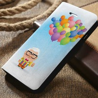 Disney Up Carl With Balloons Custom Wallet iPhone 4/4s 5 5s 5c 6 6plus 7 and Samsung Galaxy s3 s4 s5 s6 s7 case