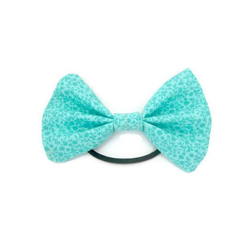 Aqua Patterned Hair Bow | ponytail holder | hairbow | hairbows | hair accessories | hair tie | hairband | aqua hair bow | aqua accessories
