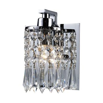 Optix 1 Light Vanity In Polished Chrome And Leaded Crystal Glass