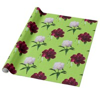 White And Red Poenies Green Wrapping Paper