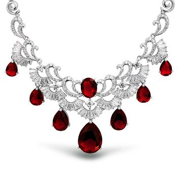 Art Deco Style AAA CZ Teardrop Simulated Gemstone Statement Necklace