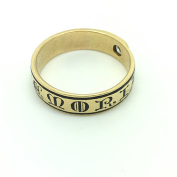 In Memoriam Victorian 18ct Gold Enamel And Diamond Mourning Ring