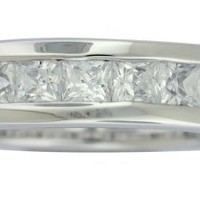 Platinum Plated Sterling Silver Cubic Zirconia Princess-Cut All-Around Ring