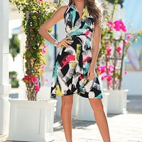 BLACK MULTI Halter print dress, gladiator wedge from VENUS