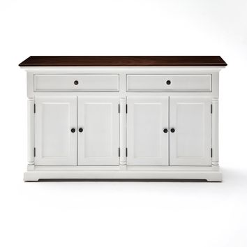 Provence Accent Buffet Basic White w/ Brown wood veneer top