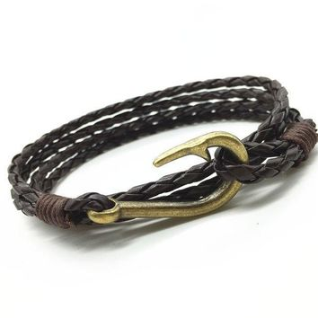 ICIKHY9 New Arrival Handmade Weave Cuff Rope PU Leather Vintage Fish Hook Men Bracelets & Bangles for Women Jewelry Accessories