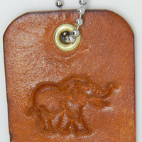 Leather Bag Charms Elephant Brown Tan Leather Key Chains Hand Stamped Bag Tags