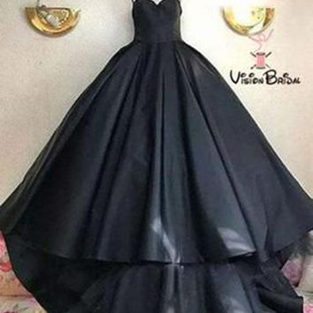Evening Dresses Black Satin Custom Cool Prom Dresses