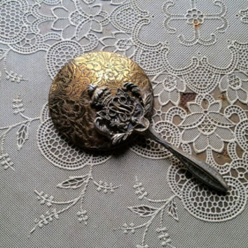 Antique Miniature Hand Held Vanity Mirror Silverplate Brass Victorian Design