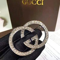 GUCCI New Fashion More Diamond Women High Quality Brooch Accessories Silver