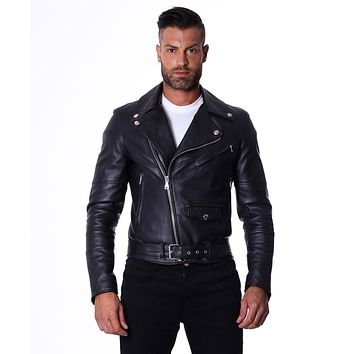 Men's Black Leather Biker Jacket | Made In Italy