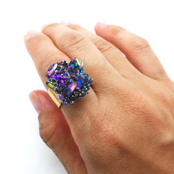 Rainbow Aura Quartz Ring, Aura Crystal Cluster, Statement Ring - Raw Crystal Ring