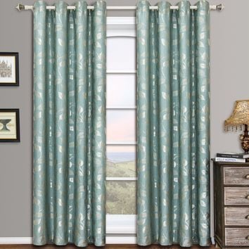 Blue Aqua Charlotte Pair (Two Panels ) Jacquard Grommet Curtain Panels
