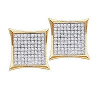Round Diamond Ladies Micro Pave Fashion Earrings in 10k Gold 0.15 ctw
