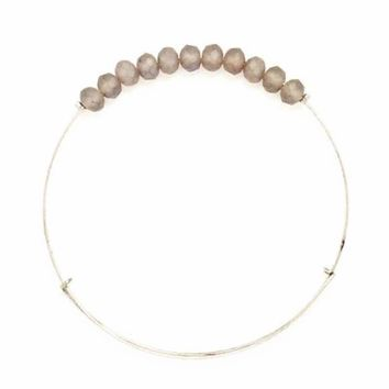 Gray Matte Crystal Wire Bangle