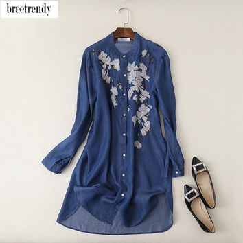 L567 fashion women floral embroidery stand collar long design jeans shirt female match all soft denim blouse blouses tops