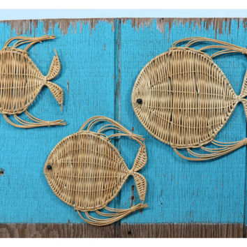 Trio of Wicker Angel Fish . Vintage Wall Hanging . 3 Natural Wicker & Wire Tiki Fish . Beach Decor