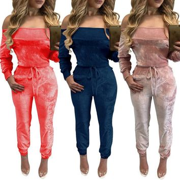 Heyouthoney women autumn sexy off shoulder velour velvet strapless long sleeve jogger jumpsuit rompers outfit combinaison femme