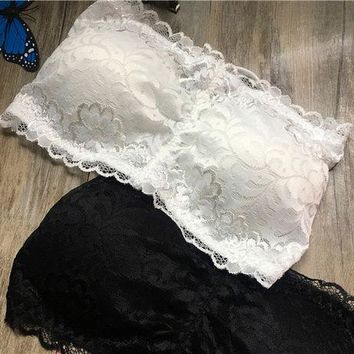 DCCKVQ8 All-match Stitching Crisscross Bandage Lace Strapless Bra Underwear Small Vest