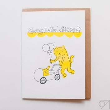 Congratulations Baby Cat Greeting Card