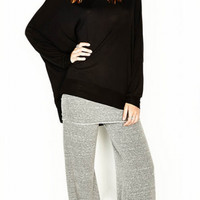 Michael Lauren Costa Bell Fold Over Pant in Heather Grey