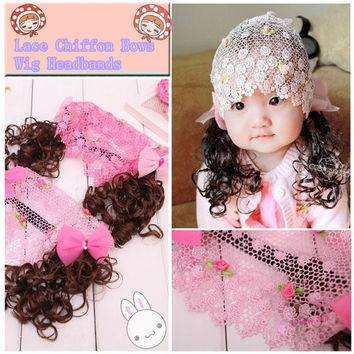 Kawaii Hot Fashion Baby Accessories Lace Hair Band Chiffon Bows Wig Headbands Children Girls Jewelry Hair Band Headwear = 1705674244