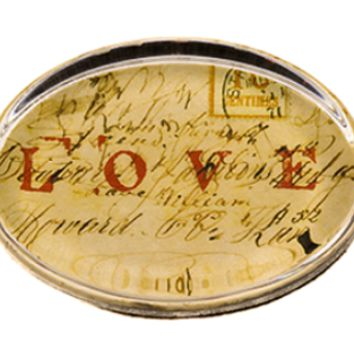 'Love' Glass Paperweight