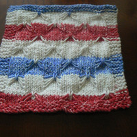 Patriotic Hand Knitted Red, White and Blue Variegated Cotton Butterfly Stitch Dish Cloth or Wash Cloth