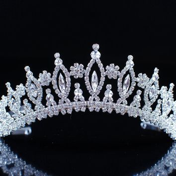 Exquisite Flower Crowns Floral Tiaras Silver Plated Clear Crystal Rhinestones Wedding Bridal Headband Hair Jewelry