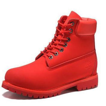 DCK7YE Best Deal Online Timberland 10061 Leather Lace-Up Boot Men Women Shoes Red