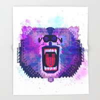 Lilac Geometric Bear  Throw Blanket by Chobopop