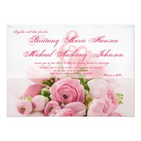 Beautiful Pink Roses Bouquet Wedding Invitation