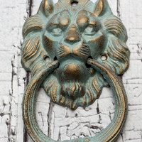Lion cast iron door knocker // cottage decor // tuscan decor // vintage style door knocker // antique style door knocker