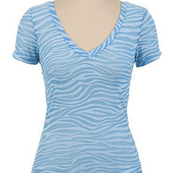 Zebra Pattern Burnout V-Neck Tee