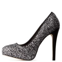 Two-Tone Glitter Platform Pumps