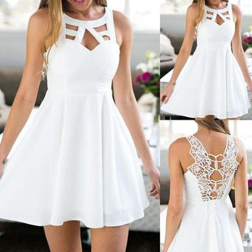 Back Lace Mini A-Line Women Dress