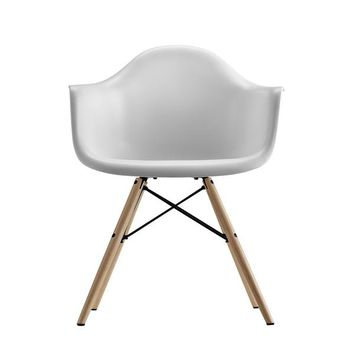 DHP Mid Century Modern Molded White Arm Chair with Wood Leg | Overstock.com Shopping - The Best Deals on Dining Chairs