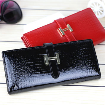 2016 High Quality Genuine Leather Wallets Women Long Purse Vintage Alligator Genuine Leather Wallet