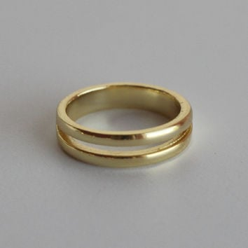 18k Gold Double Banded Midi Ring